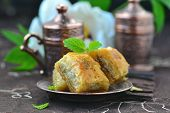 image of baklava  - baklava turkish traditional delight on metallik plate - JPG