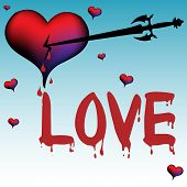 pic of love hurts  - Abstract colorful background with black sword stabbing a colorful heart and the word love written with bloody letters - JPG