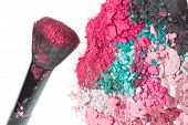 Постер, плакат: crushed eyeshadows with brush isolated on white background