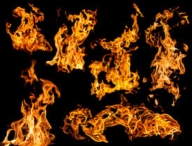 picture of combustion  - Orange fire flames on a black background set - JPG