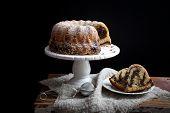 foto of fancy cakes  - Marble bundt cake on wooden table - JPG
