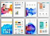 picture of web template  - Set of Vector Poster Templates with Watercolor Paint Splash - JPG