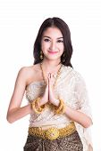 pic of traditional attire  - Thai Lady in vintage original Thailand attire Sawasdee action  - JPG