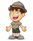 stock photo of boy scout  - Vector clipart picture of a Boy Scout or Explorer Boy cartoon character in Welcoming Gesture - JPG