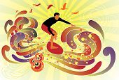 pic of post-teen  - Graphic vector illustration of a boy surfing the waves - JPG