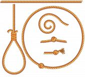 stock photo of gallows  - Twisted rope set  - JPG