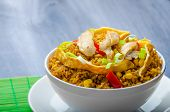 picture of crispy rice  - Chicken curry rice with crispy chinese omellete chinese chopsticks - JPG