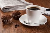 foto of peppy  - business still life with cup of black coffee on desktop - JPG