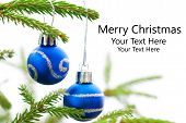 foto of fir  - Green Christmas Fir Tree With Two Blue Christmas Balls Whith Silver Decoration On It And Your Text Here White Background Merry Christmas - JPG