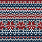 image of knitwear  - Seamless pattern ornament on the wool knitted texture vector - JPG