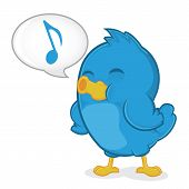 stock photo of singing  - Clipart Picture of a Blue Bird Cartoon Character Singing - JPG