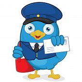 picture of postman  - Clipart Picture of a Postman Blue Bird Cartoon Character - JPG