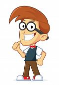 stock photo of geek  - Clipart Picture of a Nerd Geek Cartoon Character Giving Thumbs Up - JPG
