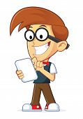 foto of geek  - Clipart Picture of a Nerd Geek Cartoon Character Holding Tablet PC - JPG