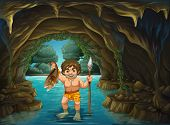 picture of fighter-fish  - illustration of a caveman catching fish - JPG