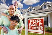 African American Family With For Sale By Owner Sign poster