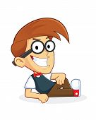 foto of dork  - Clipart Picture of a Nerd Geek Cartoon Character Lying Down - JPG