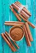 picture of cinnamon  - cinnamon sticks on the wooden table - JPG