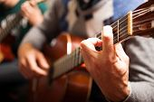 stock photo of fret  - Detail of a classical guitar player - JPG