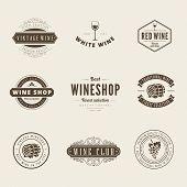picture of logo  - Wine Retro Vintage Labels Hipster Logo design vector typography lettering templates.  Old style elements, logos, logotypes, label, badges, stamps and symbols. - JPG