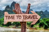 pic of wild adventure  - Time to Travel wooden sign with forest background - JPG