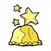 picture of gold nugget  - retro comic book style cartoon gold nugget - JPG