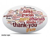 pic of appreciation  - Vector concept or conceptual abstract thank you word cloud in different languages or multilingual for education or thanksgiving day - JPG