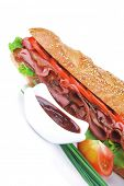 image of french curves  - french sandwich over white plate - JPG