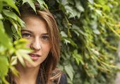 foto of greenery  - Portrait of a young pretty girl in the Park among the greenery - JPG