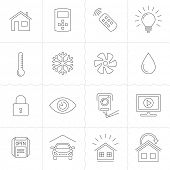 foto of outline  - Smart Home and Smart House line icons - JPG