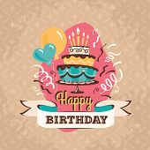 stock photo of balloon  - Vintage birthday greeting card with big cake and balloons on a grunge geometric retro background - JPG