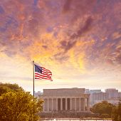 image of abraham  - Abraham Lincoln Memorial building sunset Washington DC US USA - JPG