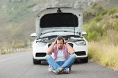 image of nervous breakdown  - Stressed man sitting after a car breakdown at the side of the road - JPG