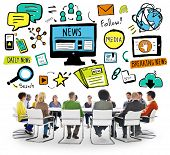 stock photo of follow-up  - News Breaking News Daily News Follow Media Searching Concept - JPG