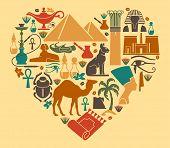foto of nefertiti  - Symbols of Egypt in the shape of a heart - JPG