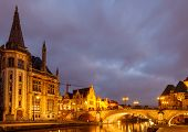stock photo of gents  - The historic center of Gent embankment Graslei. Former center of the medieval harbor.