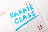 image of karate  - Written plan Karate Class on calendar page background - JPG