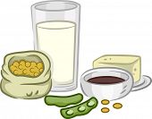 picture of soya-bean  - Illustration of a Group of Soya Beans and Products - JPG
