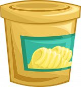 stock photo of margarine  - Illustration of a Tightly Sealed Tub of Margarine - JPG