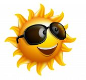 picture of spring break  - Summer Sun Face with sunglasses and Happy Smile - JPG