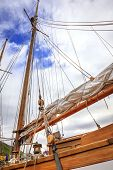 stock photo of mast  - Mast of a large sailing boat and details of rigging - JPG