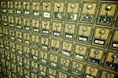 pic of old post office  - Mailboxes lined up in a post office - JPG