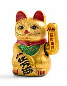 stock photo of prosperity  - Gilded Chinese Asian or Feng Shui lucky charm cat with a paw raised in greeting denoting wealth and prosperity over a white background - JPG