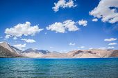 image of jammu kashmir  - Pangong lake the highest salt water lake in the world at Ladakh Jammu and Kashmir state India - JPG