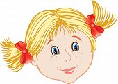 stock photo of hair bow  - cartoon smiling face of little blond girl - JPG
