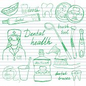 foto of toothpaste  - Dental health doodles icons set - JPG