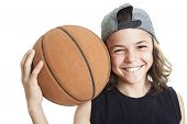 picture of ball cap  - A Portrait of young boy with basket ball - JPG