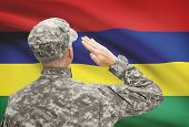 foto of mauritius  - National military forces with flag on background conceptual series  - JPG