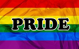 picture of gay pride  - Colorful Gay Pride flag with black lettering pride - JPG