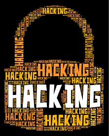 picture of spyware  - Hacking Lock Showing Malware Wordcloud And Spyware - JPG